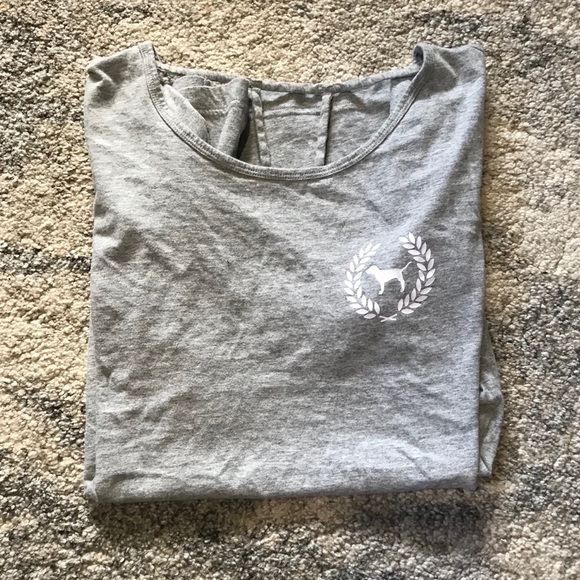 PINK Victoria's Secret Tops - NWOT VS PINK grey t shirt with cut out back